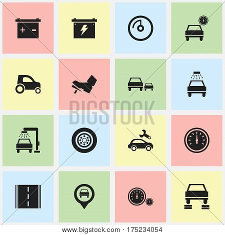 Set Of 16 Editable Vehicle Icons. Includes Symbols Such As Vehicle Wash, Vehicle Car, Tire And More. Can Be Used For Web, Mobile, UI And Infographic Design.