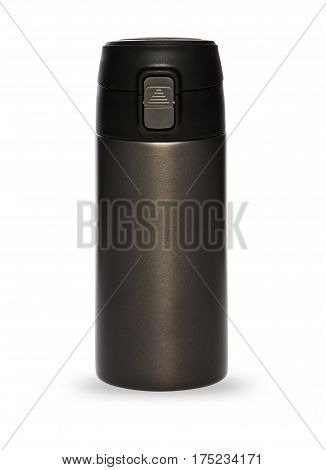 Black thermos with plastic lid and convenient spout for an active life isolated on white background