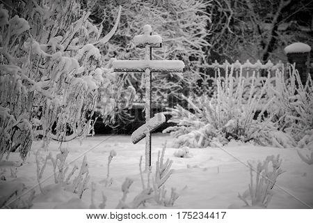 Cross in Bila Tserkva. snow. winter. orthodoxy.
