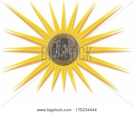 Euro coin inscribed in golden sun symbol