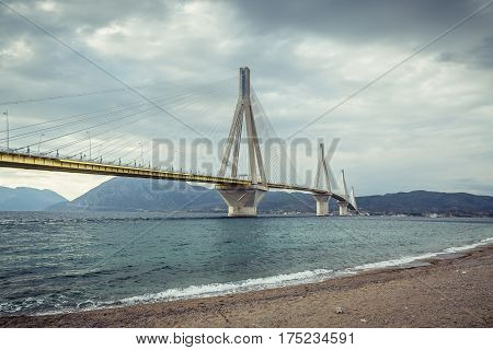 Rio-Antirrio Bridge Charilaos Trikoupis in Patras, Greece