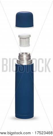 Metal thermos blue for an active life folded three objects isolated on white background