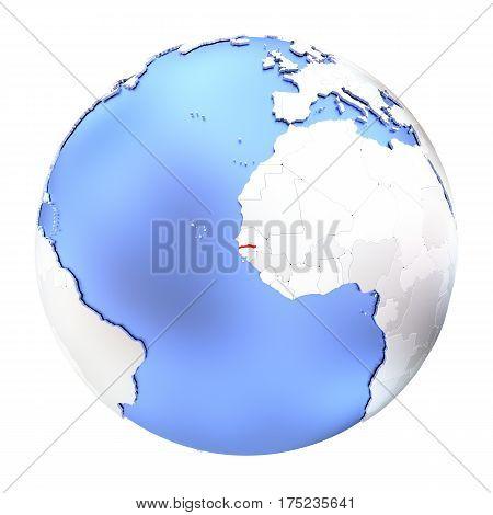 Gambia On Metallic Globe Isolated
