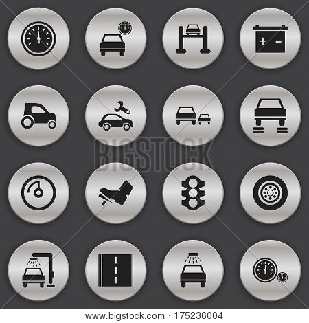 Set Of 16 Editable Transport Icons. Includes Symbols Such As Automotive Fix, Car Lave, Vehicle Car And More. Can Be Used For Web, Mobile, UI And Infographic Design.