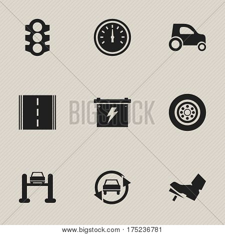 Set Of 9 Editable Traffic Icons. Includes Symbols Such As Stoplight, Treadle, Tuning Auto And More. Can Be Used For Web, Mobile, UI And Infographic Design.