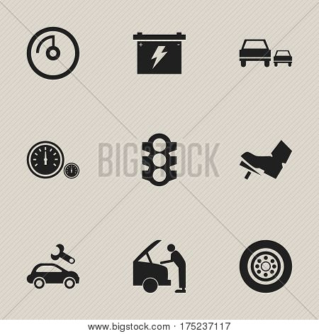 Set Of 9 Editable Vehicle Icons. Includes Symbols Such As Stoplight, Race, Speedometer And More. Can Be Used For Web, Mobile, UI And Infographic Design.