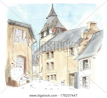 Illustration little French village Chamberet in Correze