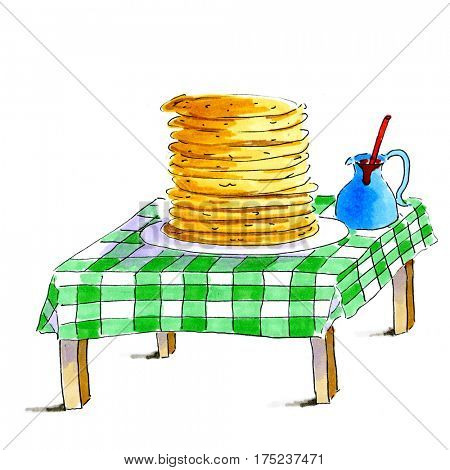 Table with stack of pancakes and syrup