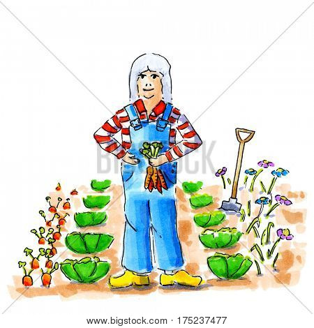 Illustration woman working in vegetable garden