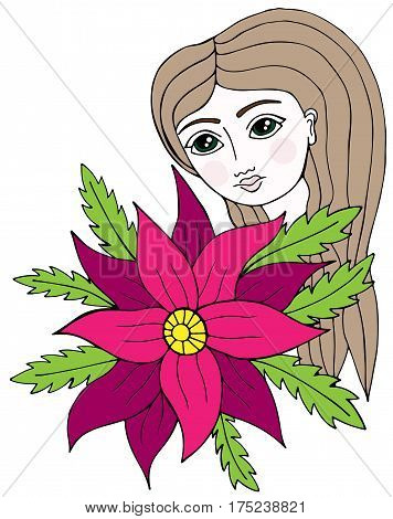 Colorful portrait of a beautiful girl with long hair with flower and leaves. Mono color black line art element for adult coloring book page design.