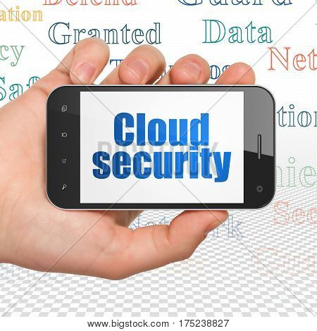 Privacy concept: Hand Holding Smartphone with  blue text Cloud Security on display,  Tag Cloud background, 3D rendering