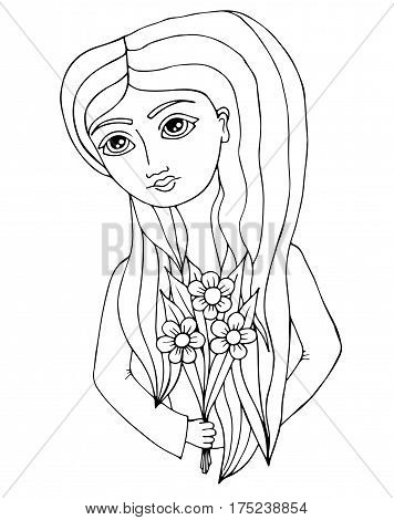 Portrait of a beautiful girl with long hair with flower in hand. Mono color black line art element for adult coloring book page design.