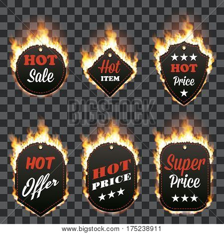 Set of six hot sale frames of different shapes surrounded with realistic flame isolated on transparent background. Burning fire light effect. Bonfire elements. Gradient mesh vector for your design