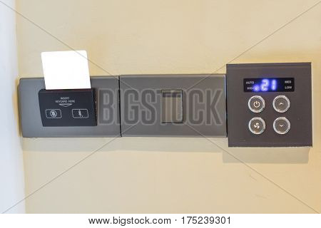 Closeup of electronic card in room