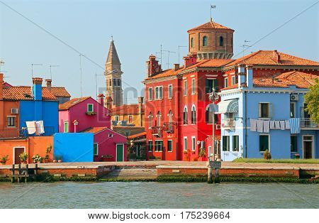 Burano Island Near Venice Italy With The Leaning Tower