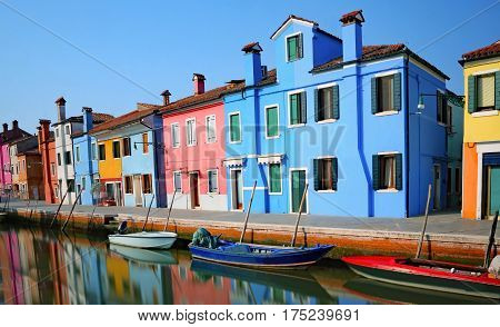 Island Of Burano And Reflection In The Water With Effect With Lo