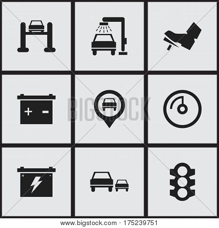 Set Of 9 Editable Transport Icons. Includes Symbols Such As Speed Display, Treadle, Stoplight And More. Can Be Used For Web, Mobile, UI And Infographic Design.