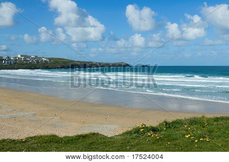 White Clouds Above Fistral Beach In Newquay, Cornwall Uk.