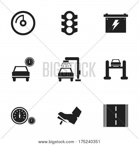 Set Of 9 Editable Vehicle Icons. Includes Symbols Such As Automobile, Treadle, Highway And More. Can Be Used For Web, Mobile, UI And Infographic Design.