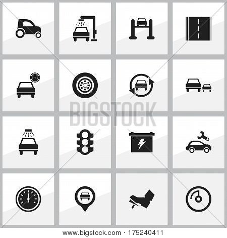 Set Of 16 Editable Transport Icons. Includes Symbols Such As Pointer, Stoplight, Car Lave And More. Can Be Used For Web, Mobile, UI And Infographic Design.