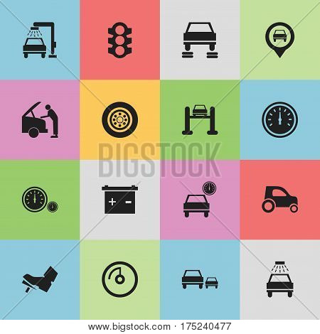 Set Of 16 Editable Traffic Icons. Includes Symbols Such As Vehicle Car, Car Lave, Auto Repair And More. Can Be Used For Web, Mobile, UI And Infographic Design.