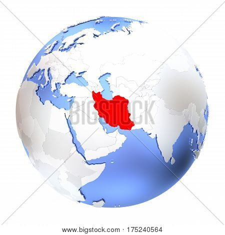 Iran On Metallic Globe Isolated