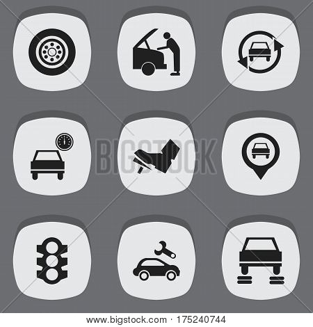 Set Of 9 Editable Traffic Icons. Includes Symbols Such As Auto Repair, Car Fixing, Treadle And More. Can Be Used For Web, Mobile, UI And Infographic Design.