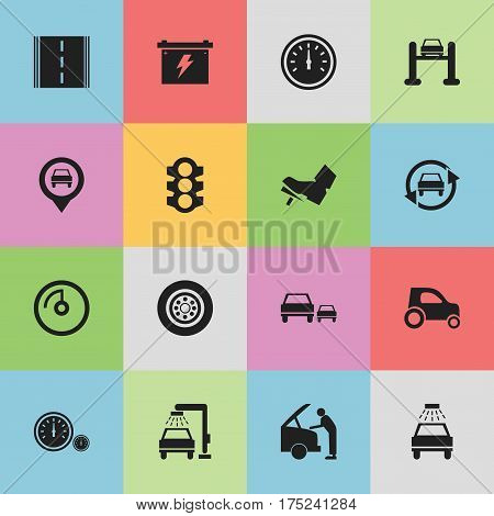 Set Of 16 Editable Transport Icons. Includes Symbols Such As Treadle, Tire, Speedometer And More. Can Be Used For Web, Mobile, UI And Infographic Design.