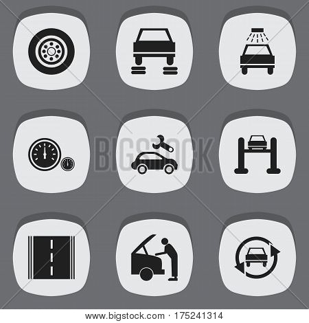 Set Of 9 Editable Transport Icons. Includes Symbols Such As Car Fixing, Car Lave, Speedometer And More. Can Be Used For Web, Mobile, UI And Infographic Design.
