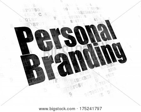 Marketing concept: Pixelated black text Personal Branding on Digital background