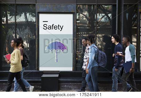 Warranty Security Safety Protection Guard Guarantee Umbrella Icons Symbols concept
