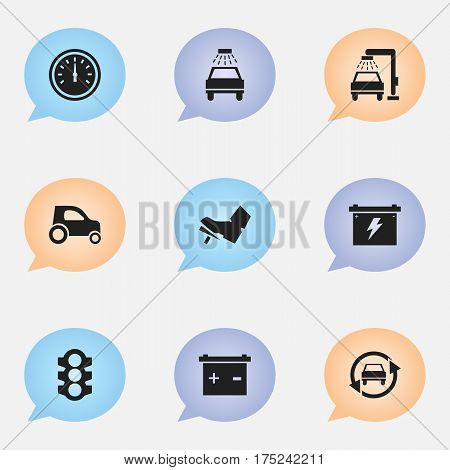 Set Of 9 Editable Transport Icons. Includes Symbols Such As Vehicle Car, Speed Control, Treadle And More. Can Be Used For Web, Mobile, UI And Infographic Design.