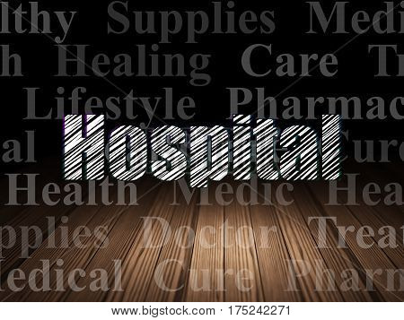 Healthcare concept: Glowing text Hospital in grunge dark room with Wooden Floor, black background with  Tag Cloud