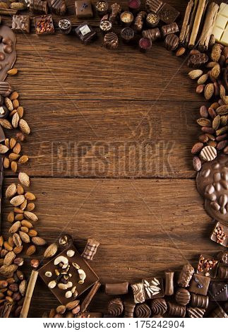 Chocolate sweet, cocoa and food dessert background