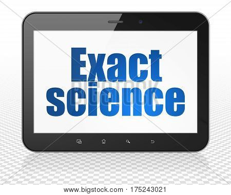 Science concept: Tablet Pc Computer with blue text Exact Science on display, 3D rendering