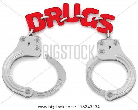 Detention for drugs. Steel handcuffs with red word