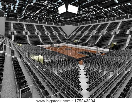 3D Render Of Beautiful Sports Arena For Basketball With Floodlights And Red Seats And Vip Boxes