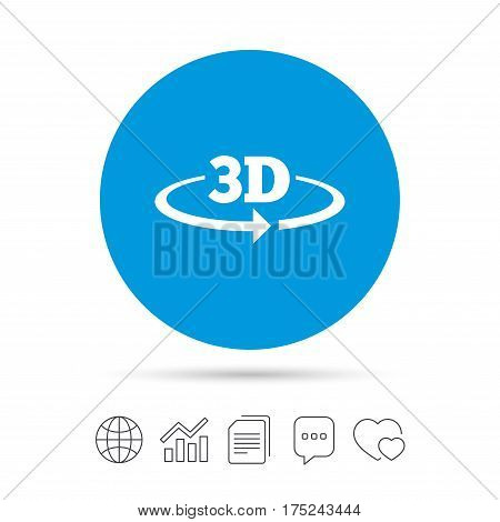 3D sign icon. 3D New technology symbol. Rotation arrow. Copy files, chat speech bubble and chart web icons. Vector