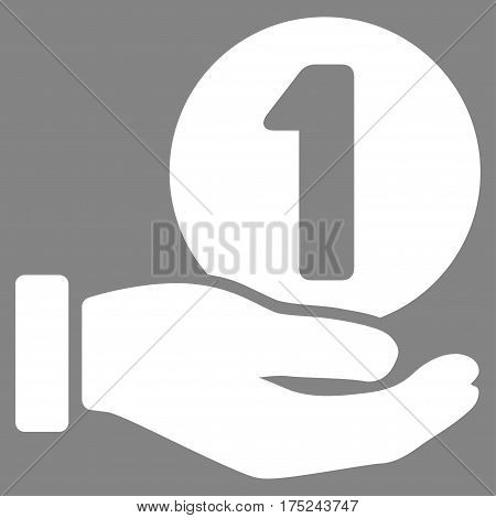 One Coin Payment Hand vector pictograph. Illustration style is a flat iconic white symbol on gray background.