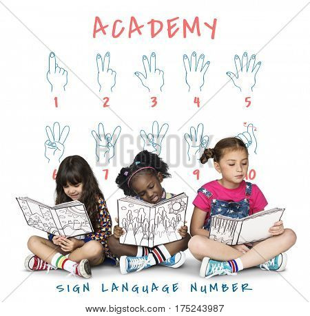 Sign Language Number Instruction Lesson Graphic concept
