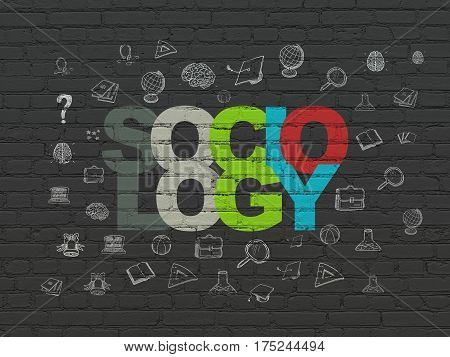 Education concept: Painted multicolor text Sociology on Black Brick wall background with  Hand Drawn Education Icons