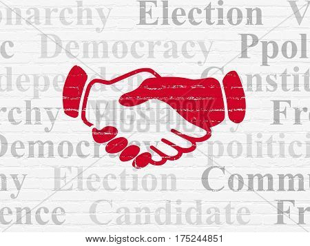 Politics concept: Painted red Handshake icon on White Brick wall background with  Tag Cloud