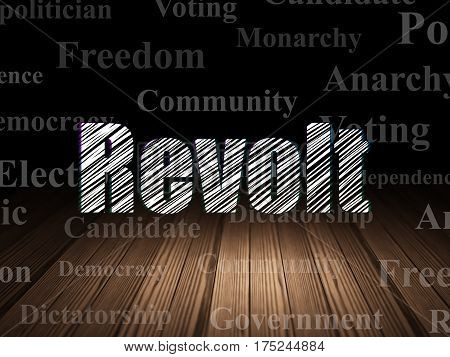 Politics concept: Glowing text Revolt in grunge dark room with Wooden Floor, black background with  Tag Cloud