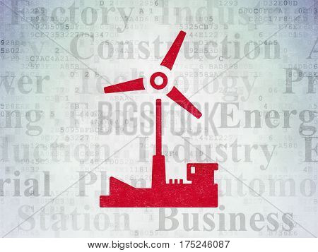 Industry concept: Painted red Windmill icon on Digital Data Paper background with  Tag Cloud