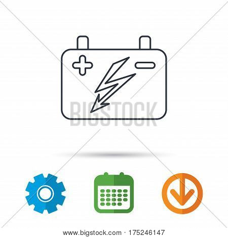 Accumulator icon. Electrical battery sign. Calendar, cogwheel and download arrow signs. Colored flat web icons. Vector