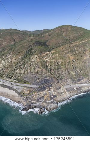Aerial view of Pacific Coast Highway passing Point Mugu near Malibu in Southern California.