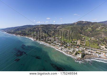 Aerial view of the Lechuza Beach area in Malibu, California.