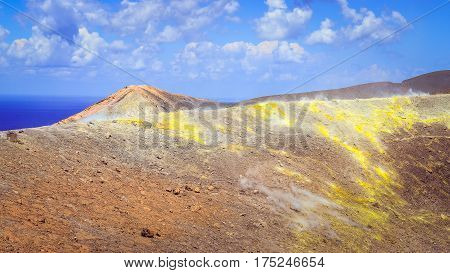 Landscape View Of Colorful Volcano Crater On Vulcano Island, Sicily