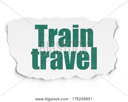 Vacation concept: Painted green text Train Travel on Torn Paper background with  Tag Cloud