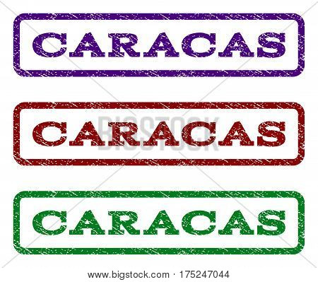 Caracas watermark stamp. Text caption inside rounded rectangle with grunge design style. Vector variants are indigo blue, red, green ink colors. Rubber seal stamp with scratched texture.